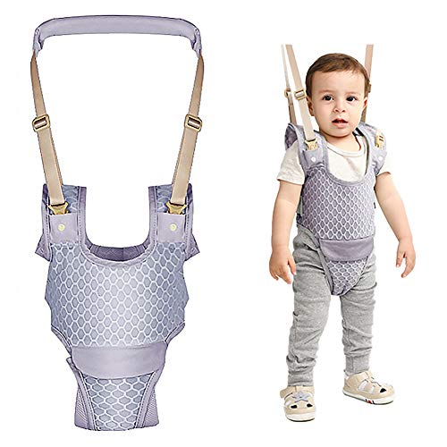 Handheld Baby Walking Harness for Kids Adjustable Toddler Walking with Detachable Crotch Keeper Walking Assistance Helper Safe Standing Walk Learning Baby Gift for 7-24 Months Baby(Grey)