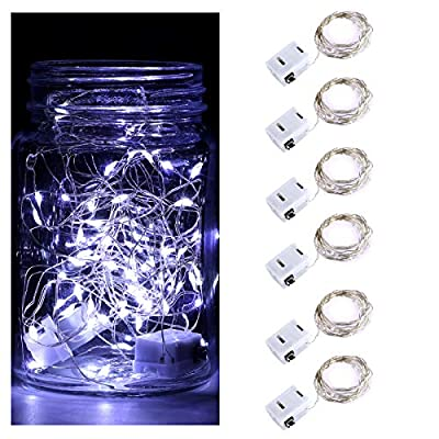 DLISITING 6 Pack Fairy String Lights with 3 Flashing Modes 7 ft 20 LED Mini Novelty Waterproof Copper Wire Starry Firefly Lights Battery Operated (Included) for DIY Wedding Party (Cool White)