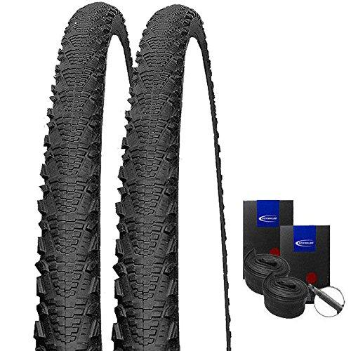 Set: 2 x Schwalbe CX Comp schwarz Cross Reifen 30-622 / 28x1.20 + Schwalbe Schläuche Rennradventil