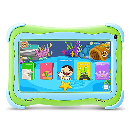 YUNTAB Q91 Kids Edition-Tablet, Android 8.1, 1GB RAM+16GB ROM, A50 Quad-Core Cortex-A7 1,5 GHz, 7-Zoll-IPS-Display, Dual-Kamera, WI-FI, Bluetooth, mit GMS-Zertifizierung (Grün)