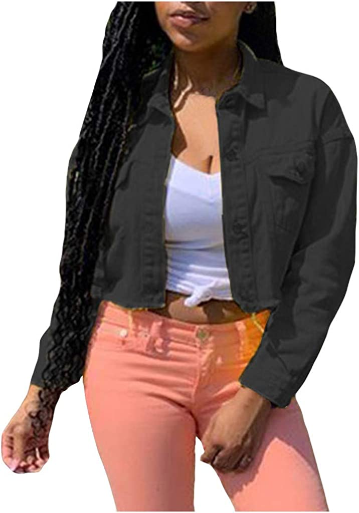 Women's Casual Crop Denim Jacket Solid Button Down Long Sleeve Lapel Cropped Jean Jacket with Pockets