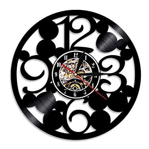 NIGU Reloj vintage de gran número de vinilo disco reloj de pared contemporáneo cocina colgante relojes hechos de números grandes simples abstractos reloj decoración registros