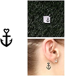 Tattify Tiny Anchor Temporary Tattoo - Horizon (Set of 2) - Other Styles Available - Fashionable Temporary Tattoos - Long Lasting and Waterproof