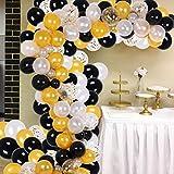 Black Gold Balloon Garland Kit, 150Pcs Party Supplies Decoration Set, Black & Gold & White & Gold Confetti Balloon Arch for Baby Shower, Wedding, Birthday, Graduation, Anniversary Organic Party