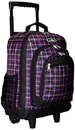 Everest Wheeled Backpack with Pattern, Purple/Black Plaid, One Size