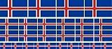 Mini Aufkleber Set - Pack glatt - 4x 51x31mm+ 12x 33x20mm + 10x 20x12mm- Sticker - Fahne - Island - Flagge - Banner - Standarte fürs Auto, Büro, zu Hause & die Schule - Set of 26