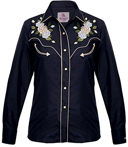 Modestone Women's Embroidered Long Sleeved Fitted Western Camicia Cowboy Floral Black XS