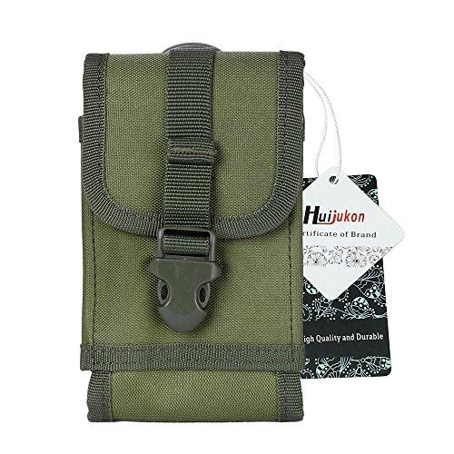 Huijukon Taktische Gürteltasche Molle Smartphone Tasche für iPhone 11 Pro iPhone 7/8 iPhone 7/8 Plus, Galaxy Note 8/S7/S8 Edge, Moto X mit Slim Hülle (Armeegrün)