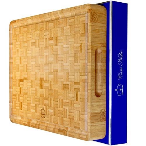 Wood Cutting Boards for Kitchen Bamboo Cutting Board Butcher Block with Handles & Juice Groove - Reversible Thick Chopping Board for Meat, Vegetables, Cheeseboard for everyday use!
