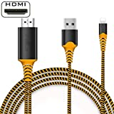 Compatible with iPhone iPad to HDMI Cable, HDMI Cord Digital AV HDMI Converter Cable to HDTV, Projector, Monitor, Compatible with iPad iPhone 11 Pro/Xs/Max/XR/X/8/7/6 Plus(Orange)