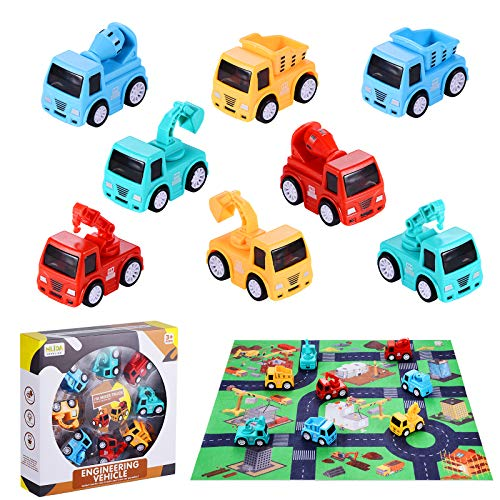 8 Pack Mini Cars Toys for Toddlers, 2,3 Years Old Boys with Play Mat, Friction Powered Construction Truck Toys for 2 Year Old Boys Play Set