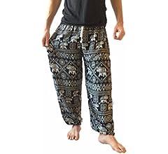 /Pantalones de Escalada para Hombre Talla /única Impreso 100/% algod/ón har/én Pantalones Hippie Boho Love Quality Amor Calidad Baggy/