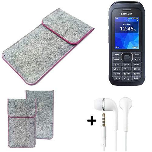 K-S-Trade Filz Schutz Hülle Für Samsung Xcover 550 Schutzhülle Filztasche Pouch Tasche Hülle Sleeve Handyhülle Filzhülle Hellgrau Pinker Rand + Kopfhörer