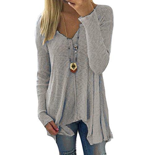 Damen Pullover V-Ausschnitt Sweater - Frauen Oberteile Langarm Shirt Jumper Strickpullover Unregelmäßiger Tops Strickpulli Herbst und Winter Sweatshirt