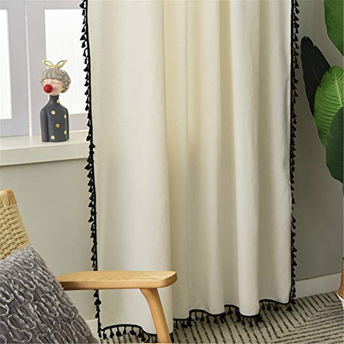 FACWAWF Nordic Simple Thick Cotton And Linen White Curtains Black Tassel Curtains Bedroom Semi Blackout Curtains 150x270cm(2pcs)