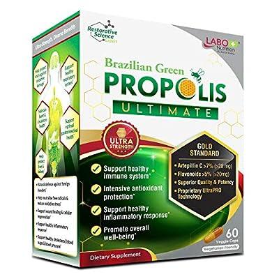 LABO Nutrition Brazilian Green Propolis Ultimate - Contains >7% Artepillin C & >5% Flavonoids, for Immune & Brain Support, Natural, High Concentrate & Premium, 60 Veg Capsules