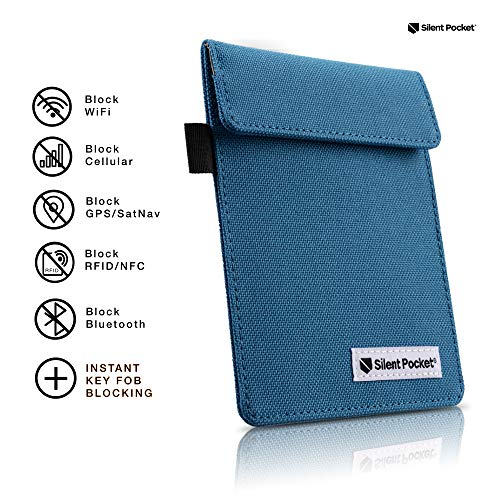 Silent Pocket Signal Blocking Faraday Key Fob Case - Car Anti Theft Device Shielding Against All Signal Types, Including RFID Blocking & Durable Faraday Bag, Fits Most Car Keyfobs (Blue, X-Small)