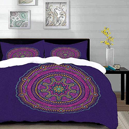 ropa de cama - Juego de funda nórdica, yoga, adorno étnico redondo de mandala sobre fondo morado Motivo místico hippie bohemio, multicolor, juego de funda nórdica de microfibra con 2 fundas de almohad