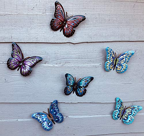 Shudehill Giftware Set mit 6 bunten Schmetterlingen aus Metall für den Garten 14 x 17 cm.