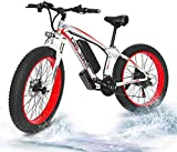 RDJM Bici electrica Fat Tire Bike eléctrica Potente 26'X4 Fat Tire 500W Motor 48V / 15AH batería de Litio extraíble E-Bici del ciclomotor de la Nieve de la montaña Se Bicicletas, Bicicletas eléctric