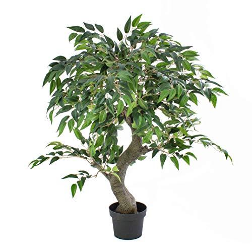 artplants.de Set 'Árbol ficus Artificial + Spray de protección UV' - Ficus sintético Yuma, Tronco Artificial, Verde, 80cm