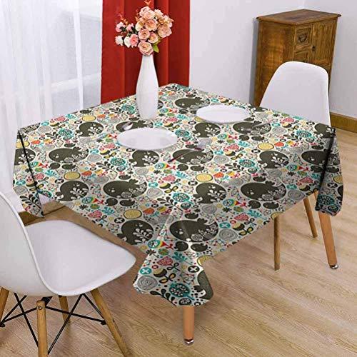 Hohun Patrón de Mantel Cuadrado de poliéster para niños con Flores de pájaros y Formas geométricas para niños Estilo Dibujado a Mano para Familiares Multicolor