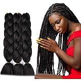 SuCoo Kanekalon Jumbo Braiding Hair Extensions High Temperature Fiber Crochet Twist Braids With Small Free Gifts 24inch 3pcs/lot(Black)