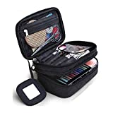 Cosmetics Bag, Double Layer Makeup Bag with Mirror Beauty Makeup Brush Bags Travel Kit Organizer,Cosmetic Bag Professional Multifunctional Organiser For Women,Size S Black