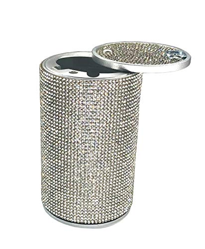 Aluminum Crystal Diamond Cigarette Smokeless Car Ashtray Cup Holder Fireproof Stainless Lid for Car Women Home Office