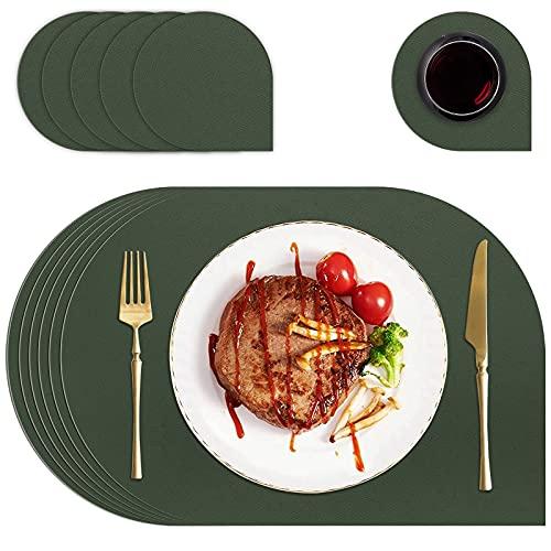 FOGARI Lavables Salvamantele,Juego de 6 Mantel Lavables Individual Resistente al Desgaste al Calor Impermeable Fácil de Limpiar 43x30cm Aptos para Mesas de Cocina/Restaurantes/Hoteles(Verde)