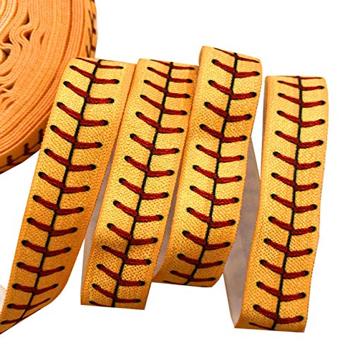 10Yards Football/Softball/Volleyball/Tennis Print Fold Over Elastic 5/8inch-Printed Elastic Ribbon-Elastic Bands for Sewing-FOE Trimming for Sewing-FOE Ribbons for Craft-FOE Ribbon Decoration