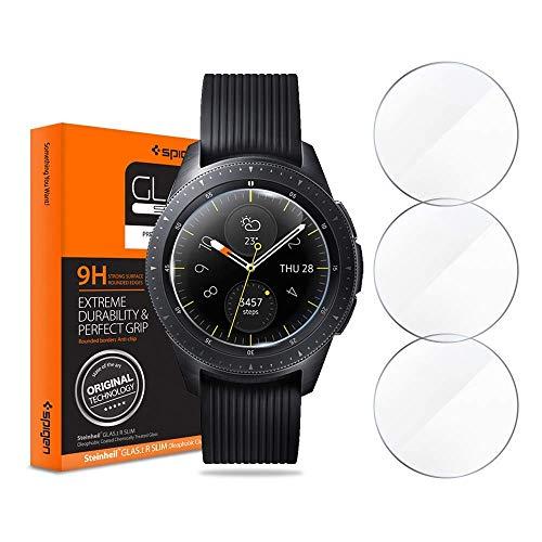 Spigen Bildschirmschutzfolie aus gehärtetem Glas kompatibel mit Samsung Galaxy Watch 42mm (2018) (3 Stück)