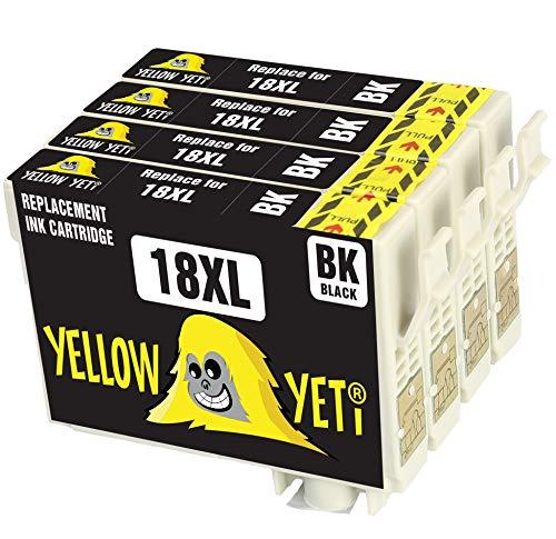 Yellow Yeti Ersatz für Epson 18 18XL Druckerpatronen Schwarz kompatibel für Epson Expression Home XP-102 XP-202 XP-205 XP-212 XP-215 XP-225 XP-302 XP-305 XP-312 XP-315 XP-325 XP-405 XP-415 XP-425