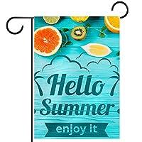 ウェルカムフラワーリースガーデンフラッグヤード両面夏時間を歓迎します パティオ芝生の家の屋外の装飾の春のための庭の花の旗