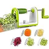 Bonsenkitchen Spiralizzatore, Spiralizer per Verdure Affettatrice di Verdure con 5 Lame, Zucchine Spaghetti Maker Zoodle Maker Creatore di Pasta Vegetariano, Affettatrice di mandolino con Contenitore