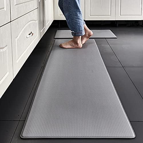PVC Washable Kitchen Mat 1PCGray Vinyl Non-Slip Carpet in The Kitchen Waterproof OilproofLong Kitchen Rug For Floor 45x75cm Color1