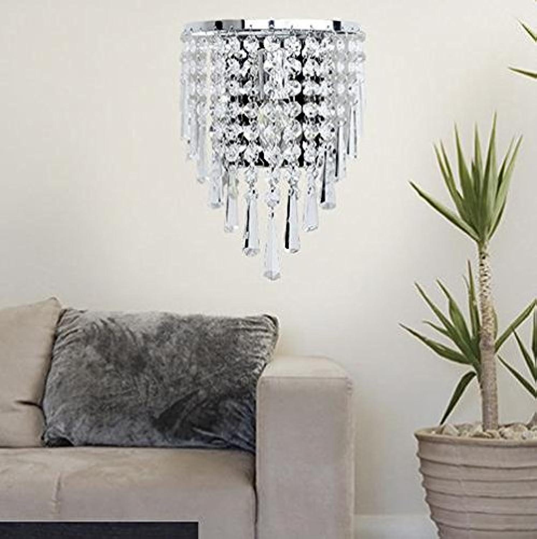 DENG LED-Wandleuchte Kristall modernes rundes Schlafzimmer E14 Knopfleuchte 12w, warm Light