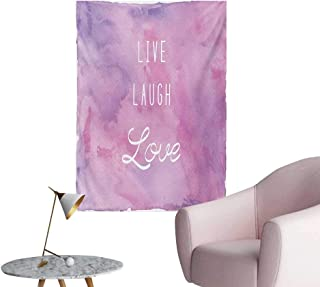 Anzhutwelve Live Laugh Love Photo Wall Paper Dreamy Watercolors Brushstrokes with Positive Quote MessagePale Pink Lavander White W24 xL32 Poster Paper