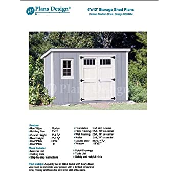 6 X 12 Deluxe Back Yard Storage Shed Project Plans Modern Roof Style Design D0612m Woodworking Project Plans Amazon Com