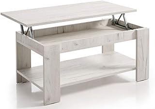 HOGAR24 ES Mesa de Centro Elevable con Revistero Color Blanco Vintage. Medidas: 100x50x49/57