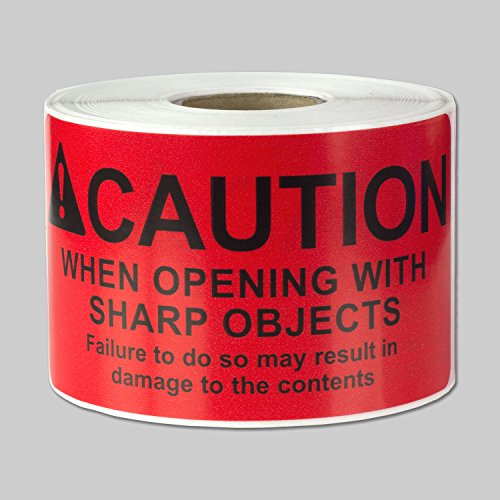 """Caution When Opening with Sharp Objects Labels Self Adhesive Stickers (Red Black / 4"""" x 2"""") - 300 Labels per Package"""
