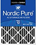 Nordic Pure 20x25x4PM12C-1 Pleated MERV 12 Plus Carbon AC Furnace Filter (1 Pack)