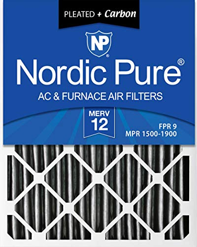 Nordic Pure 20x25x4 (3-5/8 Actual Depth) MERV 12 Pleated Plus Carbon AC Furnace Air Filters, 2 PACK, 2 Piece