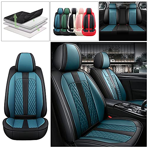 Maibuli Full Set All Seasons Car Seat Cover for Honda CR-V CRV 1998-2021 Upgraded Leather Waterproof Non-Slip Car Seat Cushions Compatible with Airbag Black Blue