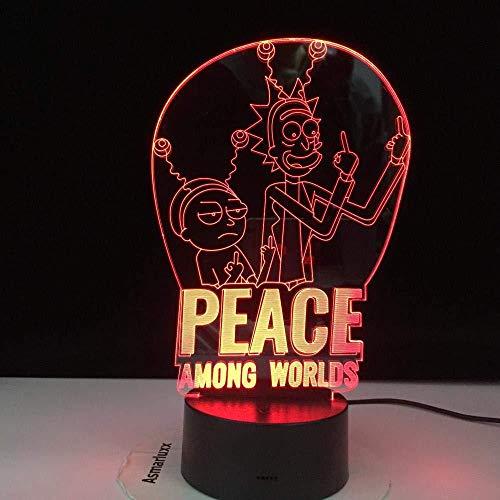 YOUPING Lámpara de ilusión 3D Led Luz de Noche Paz Entre Mundos Rick Niños para Decoración Dormitorio Sensor Táctil Cambio de Color Rick & Morty