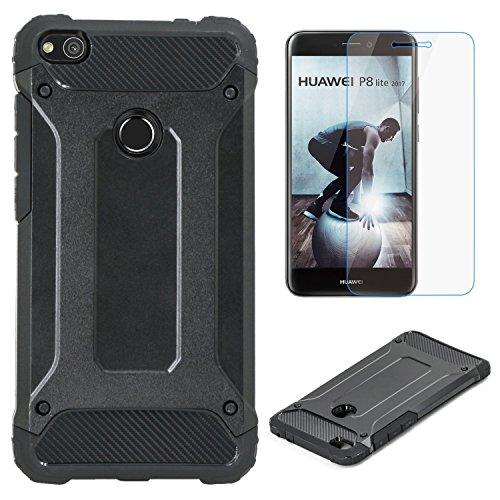Coque Huawei P8 Lite 2017 + Verre Trempe, Weideworld [Armor Box] [Double Couche] Housse de Protection Antichoc Etui, Noir