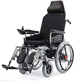 Yuzhonghua Electrica Silla de Ruedas eléctrica Ancianos discapacitados o Adultostransport Frien Peso Ligero Plegable sillas de Ruedas eléctricas for los Adultos Puede Estar Planos (Rojo), Plata, 12A,