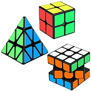 Speed Cube Set, Aitbay Cube Bundle 2x2 3x3 Pyramid Magic Puzzle Cube Toy for Kids (3 Pack) by Aitbay