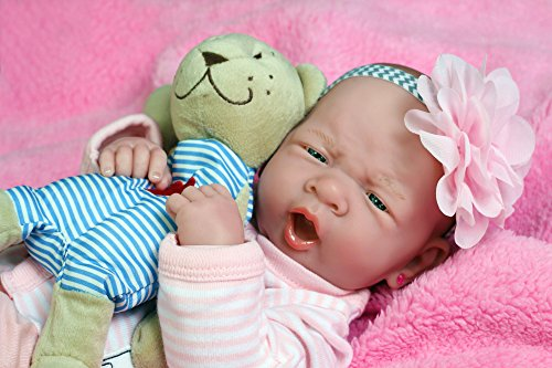 """My Cute Reborn Baby Girl Doll 14"""" inches Preemie Newborn with Beautiful Accessories Anatomically Correct Washable Berenguer Real Realistic Soft Vinyl Alive Lifelike Pacifier (Cute Baby Girl Doll)"""