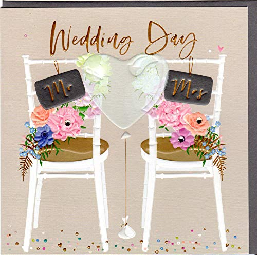 Belly Button Designs elegante Glückwunschkarte zur Hochzeit mit Prägung, Folie und Kristallen im Format 16x16cm mit hochwertigem Briefumschlag BE058